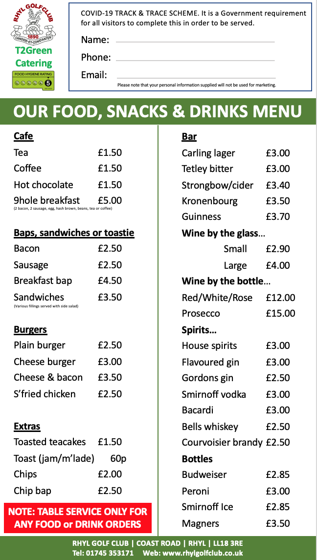 New menu from Monday 3rd August