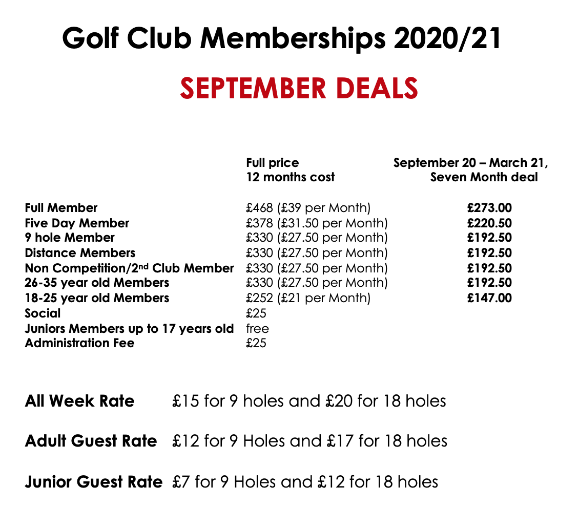 Pro-rata membership deals from September to 1st April 2021